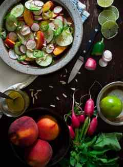 Peach cucumber salad with honey lime vinaigrette