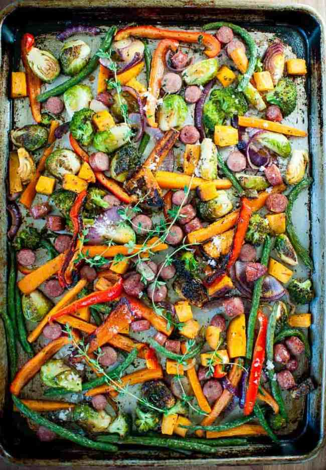Sheet pan roasted vegetables with sausage is easy and so tasty. | joeshealthymeals.com