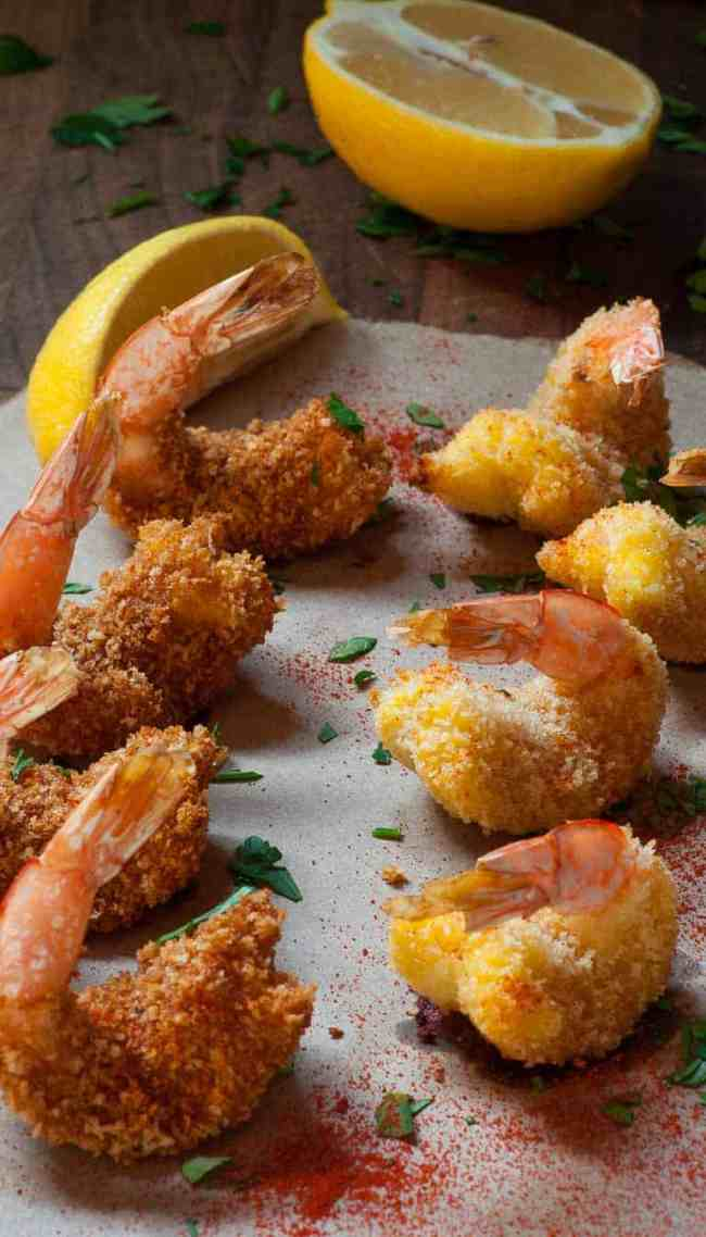 Oven baked breaded butterfly shrimp. Tasty and much less calories than deep fried. | joeshealthymeals.com