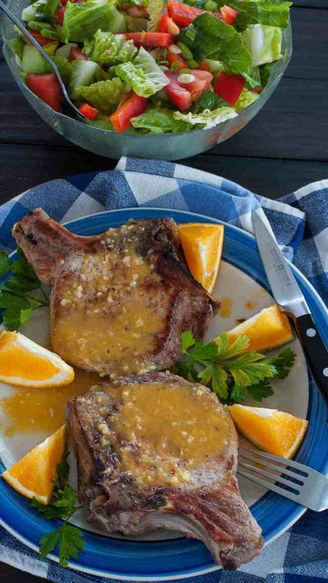 Orange glazed pork chops recipe. Super tasting easy orange sauce for your browned pork chops. | joeshealthymeals.com