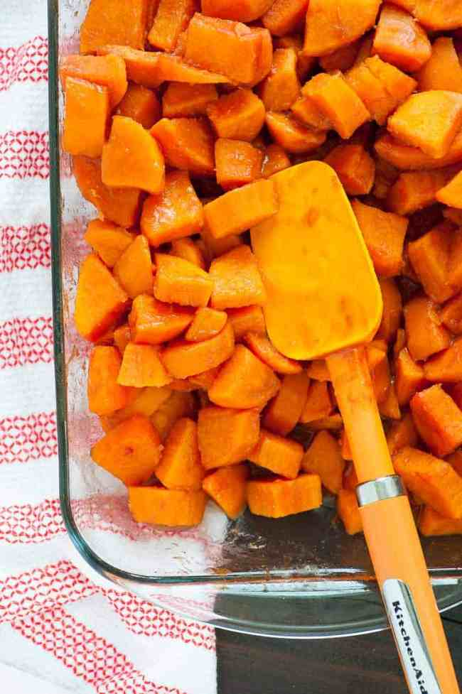 Cranberry glazed sweet potatoes are a perfect sweet and tangy side dish for Thanksgiving.   joeshealthymeals.com