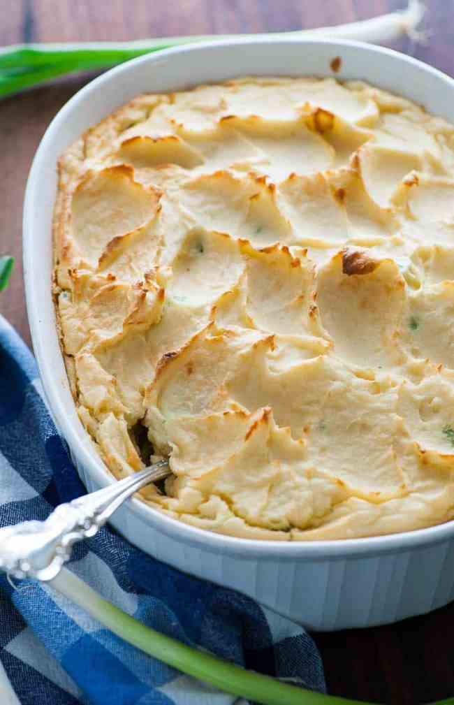 Make-ahead mashed potato casserole for a hassle free Thanksgiving day. | joeshealthymeals.com