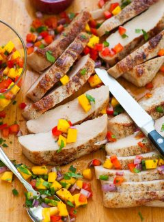 Healthy pork tenderloin steaks with mango salsa. | joeshealthymeals.com