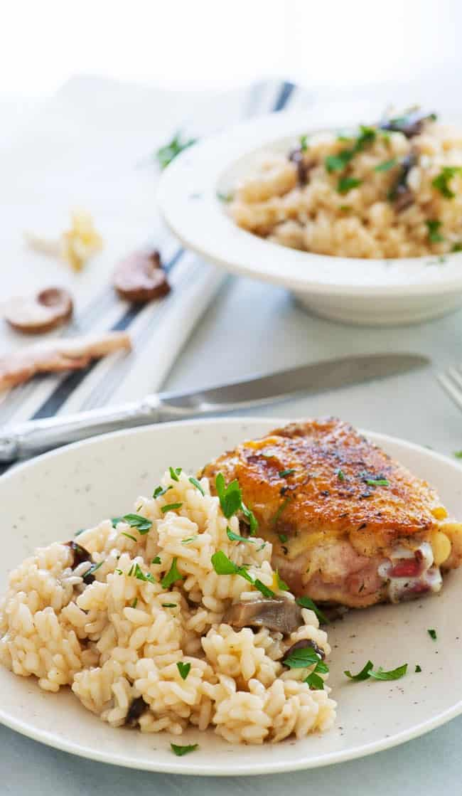 Pressure cooker mushroom risotto plated and ready to eat. | joeshealthymeals.com