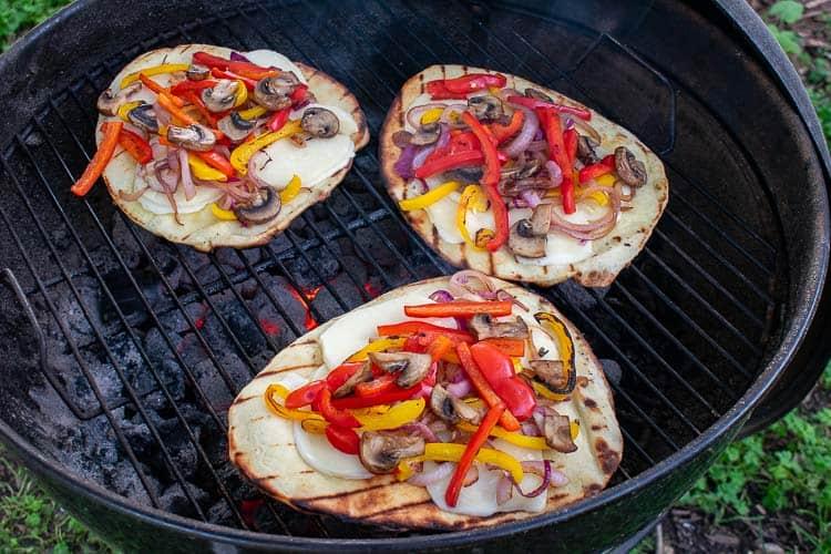 Grilled naan flatbread pizza recipe.   joeshealthymeals.com