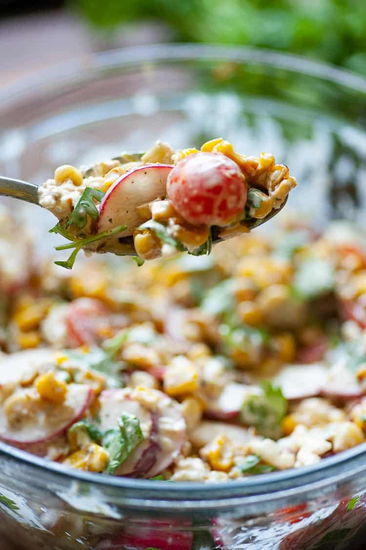 Amazingly good Mexican street corn salad. A simple, summertime side dish, perfect with grilled food. | joeshealthymeals.com