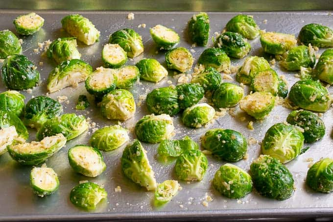 Brussels sprouts ready for the oven. Parmesan roasted Brussels sprouts.