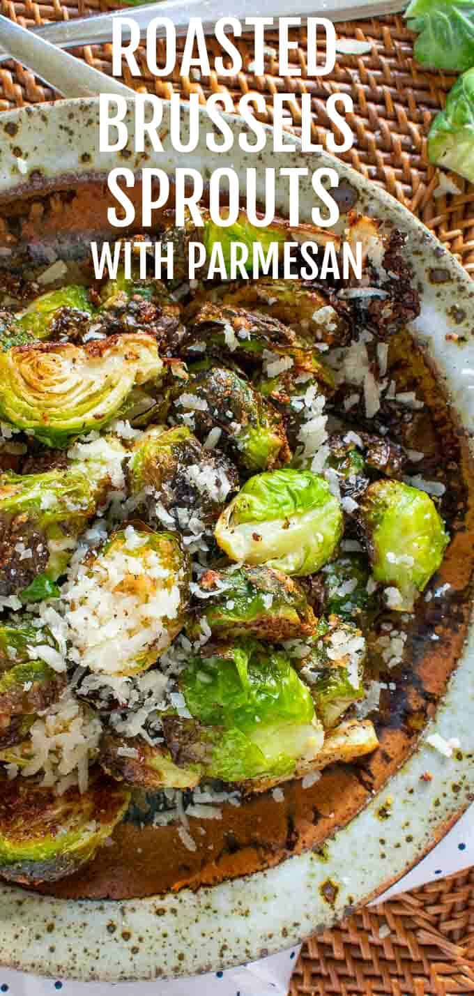 Roasted Brussels sprouts with parmesan cheese.