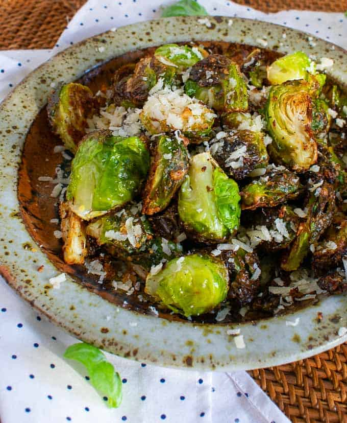 Parmesan roasted Brussels sprouts for a tasty side dish.