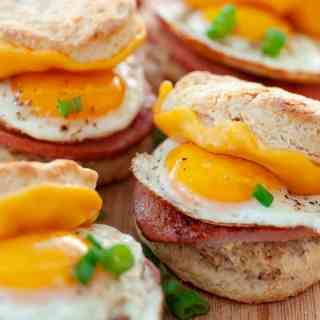 Breakfast sandwich recipe with buttermilk biscuits.
