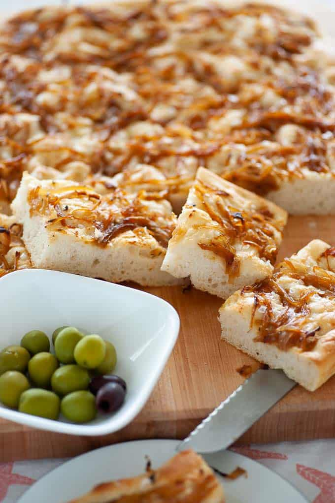 Focaccia bread with Pecorino cheese and caramelized onions.