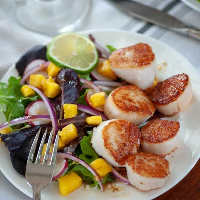 Seared scallop salad with spring greens, mango and balsamic dressing.
