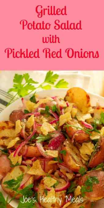 Grilled potato salad with pickled red onions. #potato salad #grilling #picnic food