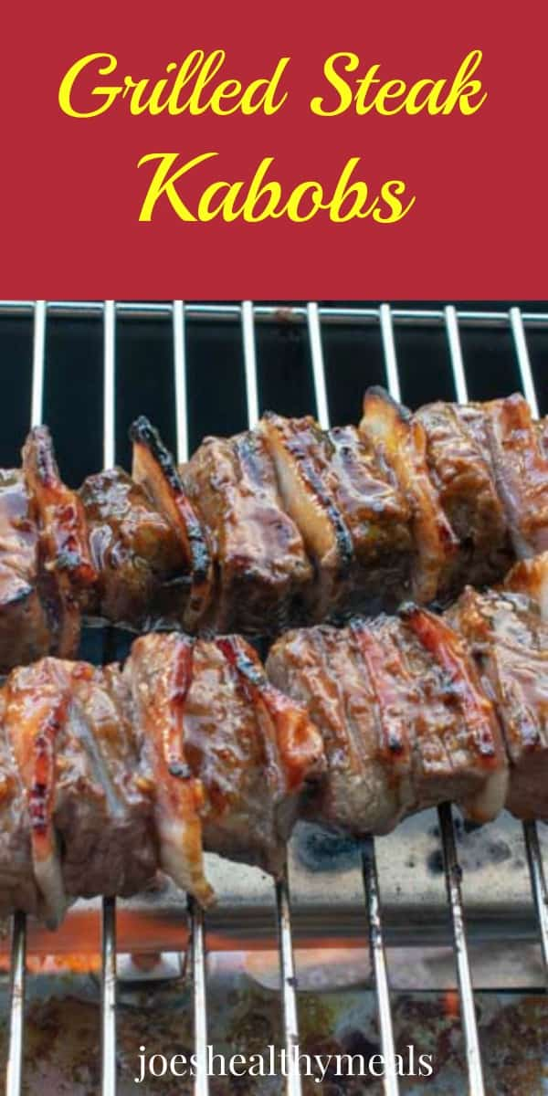 Grilling steak kabobs.