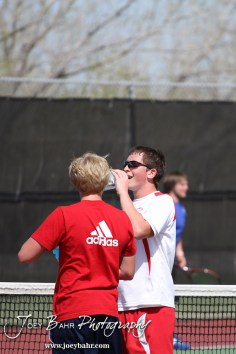Hoisington and Dodge City players talked after their match at the Great Bend Invitiational Boys Tennis Tournament at Great Bend High School in Great Bend, Kansas on March 31, 2012. (Photo: Joey Bahr, www.joeybahr.com)