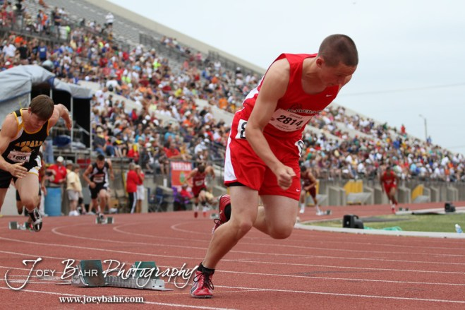 McPherson Bullpup Collin Harvey races out of the starting blocks for the 4A Boys 400 Meter Dash during the 2012 KSHSAA State Track and Field Championship at Cessna Stadium on the campus of Wichita State University in Wichita, Kansas on May 25, 2012. (Photo: Joey Bahr, www.joeybahr.com)