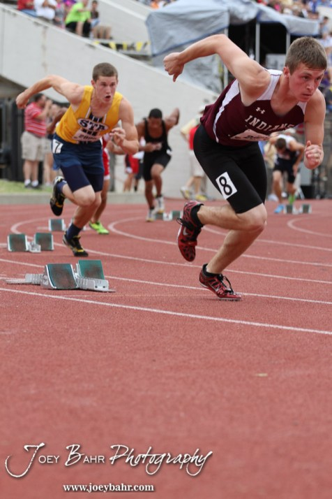 Shawn Herrman of Hays and Dillon Moran of St. Thomas Aquinas leave the starting blocks in the 5A Boys 400 Meter Dash during the 2012 KSHSAA State Track and Field Championship at Cessna Stadium on the campus of Wichita State University in Wichita, Kansas on May 25, 2012. (Photo: Joey Bahr, www.joeybahr.com)