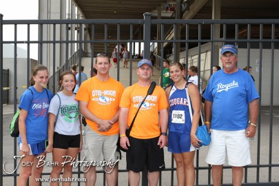 Members of the Otis-Bison Track and Field team pose for a picture during the 2012 KSHSAA State Track and Field Championship at Cessna Stadium on the campus of Wichita State University in Wichita, Kansas on May 25, 2012. (Photo: Joey Bahr, www.joeybahr.com)