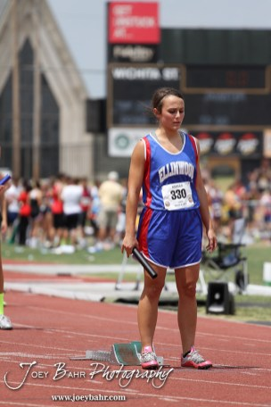 Chelsea Day of Ellinwood waits for the next command in the Preliminaries of the Class 2A Girls 4x100 Meter Relay during the 2012 KSHSAA State Track and Field Championship at Cessna Stadium on the campus of Wichita State University in Wichita, Kansas on May 25, 2012. (Photo: Joey Bahr, www.joeybahr.com)