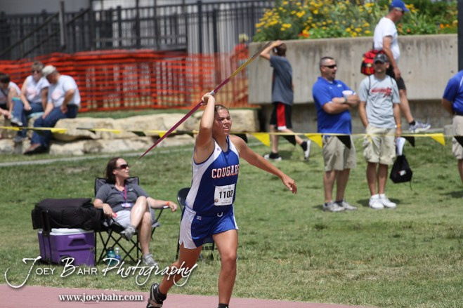 Janel Tammen of Otis-Bison throws in the Class 1A Girls Javelin during the 2012 KSHSAA State Track and Field Championship at Cessna Stadium on the campus of Wichita State University in Wichita, Kansas on May 25, 2012. (Photo: Joey Bahr, www.joeybahr.com)