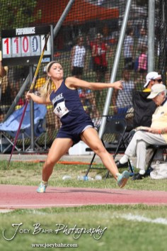 Baileyville-B&B's Caitlin Deters throws in the Class 1A Girls Javelin during the 2012 KSHSAA State Track and Field Championship at Cessna Stadium on the campus of Wichita State University in Wichita, Kansas on May 25, 2012. (Photo: Joey Bahr, www.joeybahr.com)