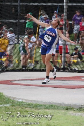 Otis-Bison's Janel Tammen throws in the Class 1A Girls Discuss during the 2012 KSHSAA State Track and Field Championship at Cessna Stadium on the campus of Wichita State University in Wichita, Kansas on May 25, 2012. (Photo: Joey Bahr, www.joeybahr.com)