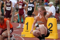 Katelynn Gamble of Kiowa County prepares for her heat of the Class 2A Girls 100 Meter Dash during the 2012 KSHSAA State Track and Field Championship at Cessna Stadium on the campus of Wichita State University in Wichita, Kansas on May 26, 2012. (Photo: Joey Bahr, www.joeybahr.com)
