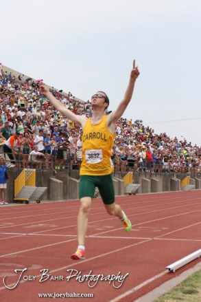 Bishop Carroll's David Thor celebrates his victory in the Class 5A 1600 Meter Run during the 2012 KSHSAA State Track and Field Championship at Cessna Stadium on the campus of Wichita State University in Wichita, Kansas on May 26, 2012. (Photo: Joey Bahr, www.joeybahr.com)