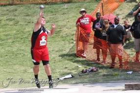 Jayce Brack of Great Bend throws in the Class 5A Boys Shot Put during the 2012 KSHSAA State Track and Field Championship at Cessna Stadium on the campus of Wichita State University in Wichita, Kansas on May 26, 2012. (Photo: Joey Bahr, www.joeybahr.com)