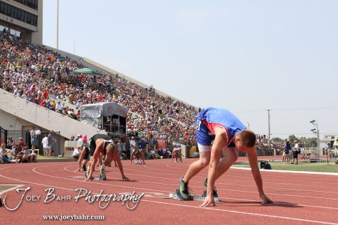 Jacob Hardiman of Pawnee Heights awaits the start of the Class 1A Boys 400 Meter Dash Finals during the 2012 KSHSAA State Track and Field Championship at Cessna Stadium on the campus of Wichita State University in Wichita, Kansas on May 26, 2012. (Photo: Joey Bahr, www.joeybahr.com)