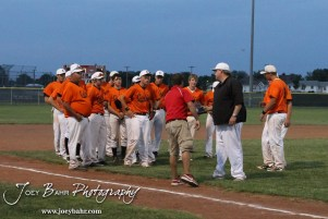 The Colby Eagles receive their 4A Regional Baseball Runner-Up plaque at the KSHSAA 4A Regional Baseball Championship at Legion Field in Hoisington, Kansas on May 16, 2012. (Photo: Joey Bahr, www.joeybahr.com)
