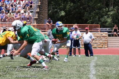 West All-Star Austin Stebens of Ashland High School (#14) takes a snap against the East All-Stars during the Kansas Eight Man Football Association Division II All-Star Game at Trojan Field in Beloit, Kansas on June 9, 2012. (Photo: Joey Bahr, www.joeybahr.com)