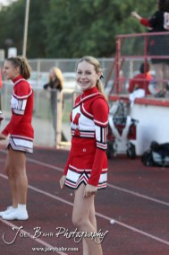 McPherson Bullpups cheerleader Anna Bahr smiles during the Winfield at McPherson football game that ended in a 47 to 8 victory for the Bullpups at the McPherson Stadium in McPherson, Kansas on September 28, 2012. (Photo: Joey Bahr, www.joeybahr.com)