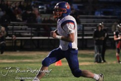 Otis-Bison Cougar Dylan Wissman (#2) scores a touchdown during the Otis-Bison visiting Sylvan-Lucas Unified Eight Man Division II District 7 matchup with Otis-Bison winning 76-26 in Sylvan Grove, Kansas on October 25, 2012. (Photo: Joey Bahr, www.joeybahr.com)