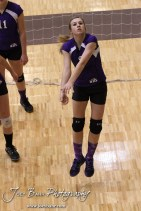 Wilson Lady Dragon McKenzie Thrasher (#2) warms up before the Wilson versus Weskan KSHSAA Class 1A Division II State Volleyball Pool II match with Weskan winning 26-24, 25-12 in Hays, Kansas on October 26, 2012. (Photo: Joey Bahr, www.joeybahr.com)