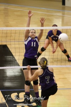 Wilson Lady Dragon Karlie Steinle (#11) goes to block a shot from Weskan Lady Coyote Robyn See (#7) during the Wilson versus Weskan KSHSAA Class 1A Division II State Volleyball Pool II match with Weskan winning 26-24, 25-12 in Hays, Kansas on October 26, 2012. (Photo: Joey Bahr, www.joeybahr.com)