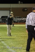 LaCrosse Leopard Head Coach Jon Webster talks to the refs during the Oakley at LaCrosse KSHSAA Class 2-1A Sectional Football Playoff game with LaCrosse winning 20-8 at LaCrosse High School in LaCrosse, Kansas on November 9, 2012. (Photo: Joey Bahr, www.joeybahr.com)