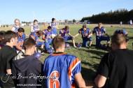 The Otis-Bison Cougars kneel to pray following the Thunder Ridge at Otis-Bison KSHSAA Eight Man Division II Regional Game with Thunder Ridge winning 28-18 at Otis-Bison High School in Otis, Kansas on November 3, 2012. (Photo: Joey Bahr, www.joeybahr.com)