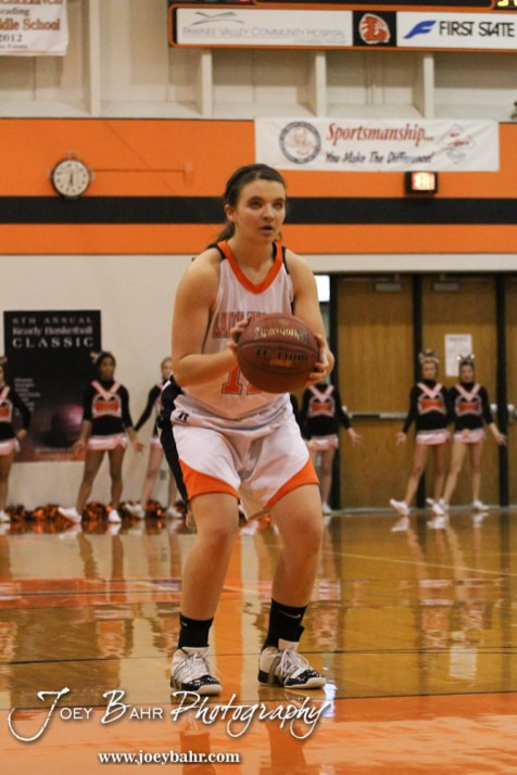 Larned Lady Indian Reagan Quick (#11) prepares to shoot a free throw attempt during the Larned Lady Indians versus Kiowa County Lady Mavericks First Round Game with Larned winning 50 to 39 at the 6th Annual Keady Basketball Classic held at Larned Middle School in Larned, Kansas on December 3, 2012. (Photo: Joey Bahr, www.joeybahr.com)