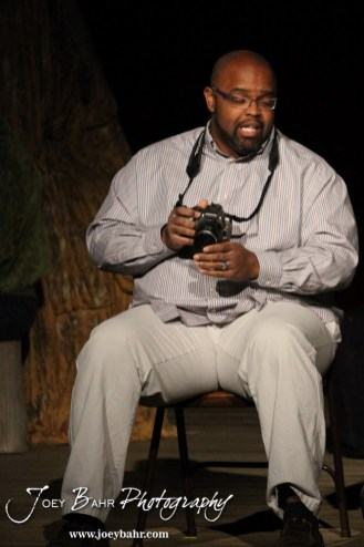 """Lenny played by C.T. Taylor perfoms during the Great Bend Community Theater's final rehearsal of """"Duck Hunter Shoots Angel"""" by Mitch Albom at Crest Theater in Great Bend, Kansas on April 17, 2013. (Photo: Joey Bahr, www.joeybahr.com)"""