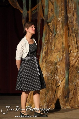 """Woman played by Claudia Wyatt performs during the Great Bend Community Theater's final rehearsal of """"Duck Hunter Shoots Angel"""" by Mitch Albom at Crest Theater in Great Bend, Kansas on April 17, 2013. (Photo: Joey Bahr, www.joeybahr.com)"""