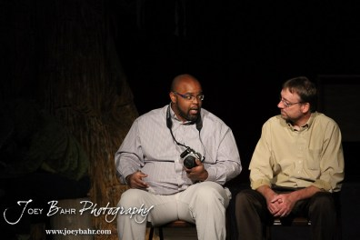 """Lenny played by C.T. Taylor explains a point to Sandy played by Doug Simmons during the Great Bend Community Theater's final rehearsal of """"Duck Hunter Shoots Angel"""" by Mitch Albom at Crest Theater in Great Bend, Kansas on April 17, 2013. (Photo: Joey Bahr, www.joeybahr.com)"""