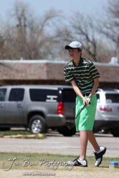 Salina South Cougar Tim Kroeker watches his drive during the Great Bend High School Boys Golf Invitational Tournament at The Club at Stoneridge in Great Bend, Kansas on April 29, 2013. (Photo: Joey Bahr, www.joeybahr.com)