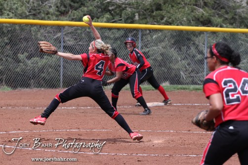 Liberal Lady Redskin Pitcher Brittany Granger throws a pitch during the Liberal Lady Redskins at Great Bend Lady Panthers Softball Double Header with Great Bend winning both games 18-0 (3 innings) 13-0 at Barton Community College Softball Field in Great Bend, Kansas on April 27, 2013. (Photo: Joey Bahr, www.joeybahr.com)