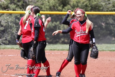 The Great Bend Lady Panther Infield break huddle at the start of an inning during the Liberal Lady Redskins at Great Bend Lady Panthers Softball Double Header with Great Bend winning both games 18-0 (3 innings) 13-0 at Barton Community College Softball Field in Great Bend, Kansas on April 27, 2013. (Photo: Joey Bahr, www.joeybahr.com)