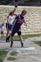 A Weskan competitor throws the shot put during the 2013 KSHSAA Class 1A Regional Track and Field competition at Lewis Field on the campus of Fort Hays State University in Hays, Kansas on May 17, 2013. (Photo: Joey Bahr, www.joeybahr.com)