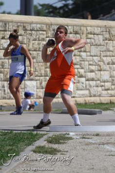 Otis-Bison's Sam Higgason throws the shot put during the 2013 KSHSAA Class 1A Regional Track and Field competition at Lewis Field on the campus of Fort Hays State University in Hays, Kansas on May 17, 2013. (Photo: Joey Bahr, www.joeybahr.com)