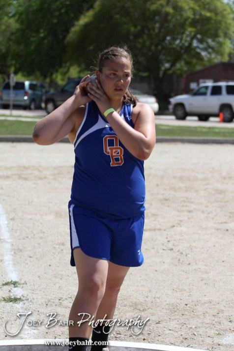 Megan Tammen of Otis-Bison warms up for the shot put during the 2013 KSHSAA Class 1A Regional Track and Field competition at Lewis Field on the campus of Fort Hays State University in Hays, Kansas on May 17, 2013. (Photo: Joey Bahr, www.joeybahr.com)
