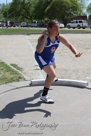 Otis-Bison's Megan Tammen throws the shot put during the 2013 KSHSAA Class 1A Regional Track and Field competition at Lewis Field on the campus of Fort Hays State University in Hays, Kansas on May 17, 2013. (Photo: Joey Bahr, www.joeybahr.com)