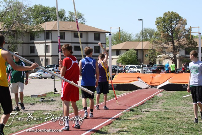 Pole Vaulters begin to warm up during the 2013 KSHSAA Class 1A Regional Track and Field competition at Lewis Field on the campus of Fort Hays State University in Hays, Kansas on May 17, 2013. (Photo: Joey Bahr, www.joeybahr.com)